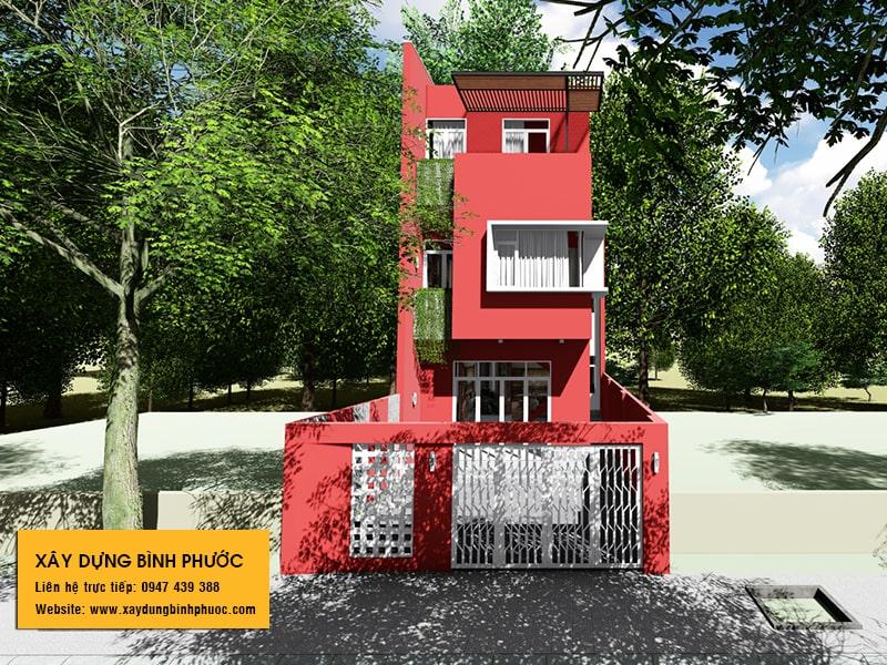 kiến trúc nhà phố 3 tầng hiện đại gam màu đỏ tại đồng xoài 01