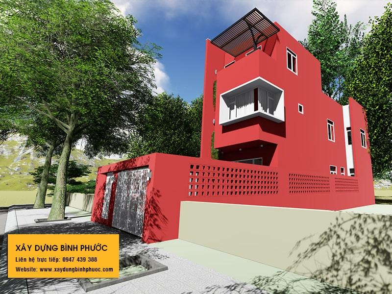 kiến trúc nhà phố 3 tầng hiện đại gam màu đỏ tại đồng xoài 02