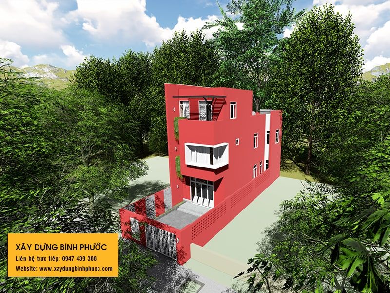 kiến trúc nhà phố 3 tầng hiện đại gam màu đỏ tại đồng xoài 03