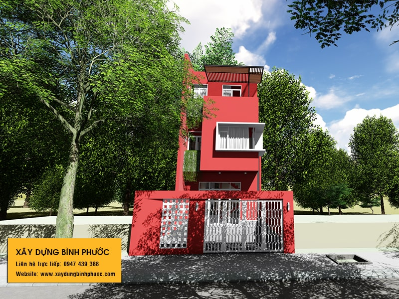 kiến trúc nhà phố 3 tầng hiện đại gam màu đỏ tại đồng xoài 04