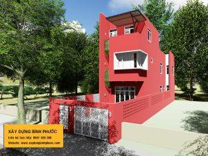 kiến trúc nhà phố 3 tầng hiện đại gam màu đỏ tại đồng xoài